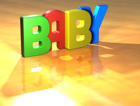 Word Baby on yellow background (high resolution 3D image) Stock Photo - 13735077