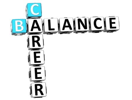 3D Career Balance Crossword on white background Stock Photo - 13735062