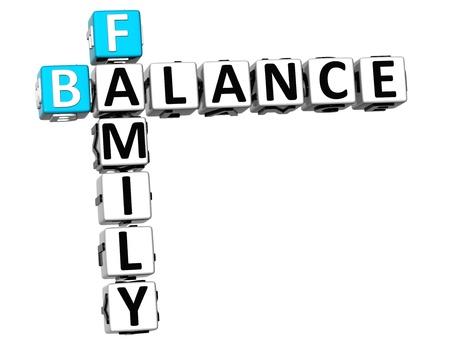 3D Family Balance Crossword on white background photo