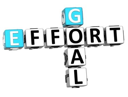 effort: 3D Goal Effort Crossword on white background