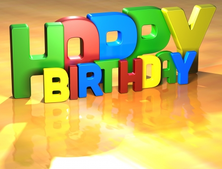 Word Happy Birthday on yellow background (high resolution 3D image) Stock Photo