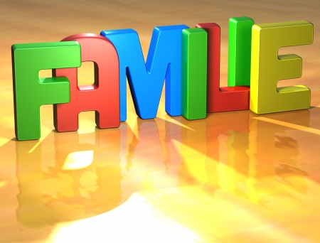 wariety: Word Familie on yellow background (high resolution 3D image) Stock Photo