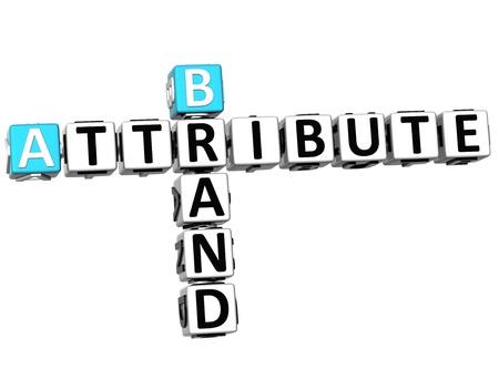 3D Brand Attribute Crossword on white background photo