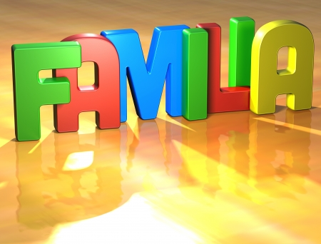 Word Familia on yellow background (higj resolution 3D image) photo