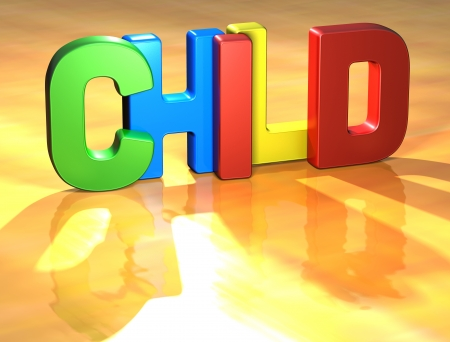 Word Child on yellow background (higj resolution 3D image) Stock Photo - 13761882