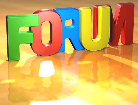 Word Forum on yellow background (higj resolution 3D image) Stock Photo - 13761893