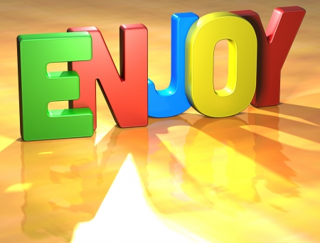 Word Enjoy on yellow background (higj resolution 3D image) Stock Photo - 13761888