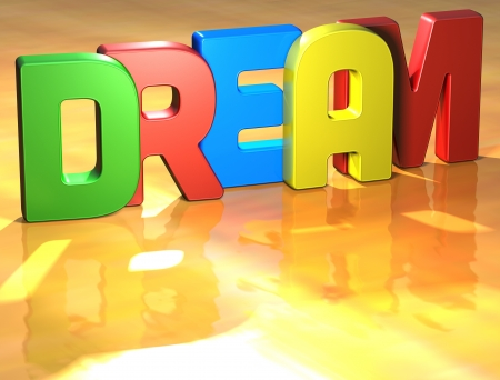 Word Dream on yellow background (higj resolution 3D image) photo