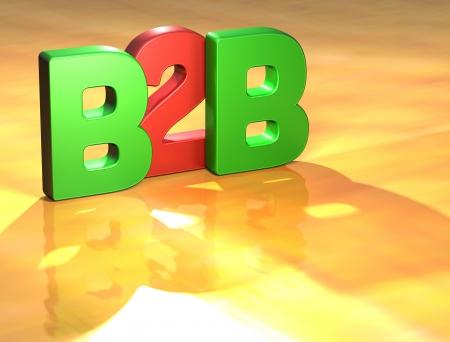 wariety: Word B2B on yellow background (higj resolution 3D image) Stock Photo