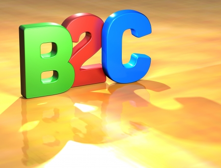 Word B2C on yellow background (higj resolution 3D image) photo
