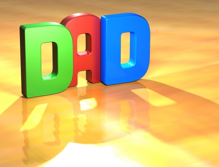 Word Dad on yellow background (higj resolution 3D image) Stock Photo - 13761901