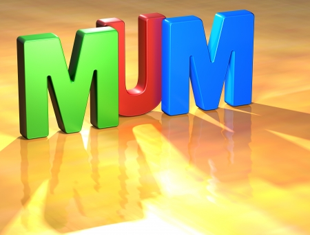 Word Mum on yellow background (higj resolution 3D image) Stock Photo - 13761879