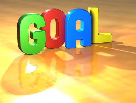 Word Goal on yellow background (higj resolution 3D image) Stock Photo - 13761869