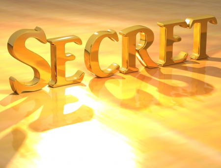 3D Secret Gold Text over yellow background photo