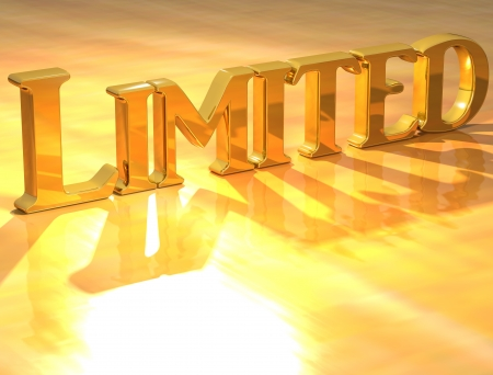 3D Limited Gold Text over yellow background photo