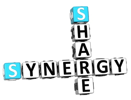 3D Share Synergy Crossword on white background photo