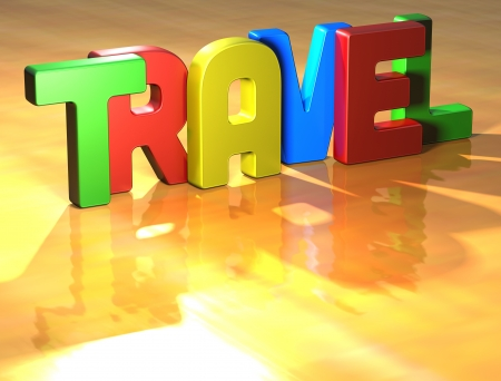 Word Travel on yellow background Stock Photo - 13794790
