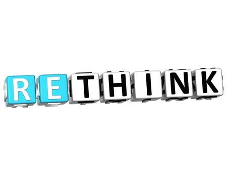 3D Rethink Crossword on white background photo