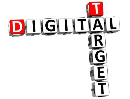 3D Target Digital Crossword on white background photo