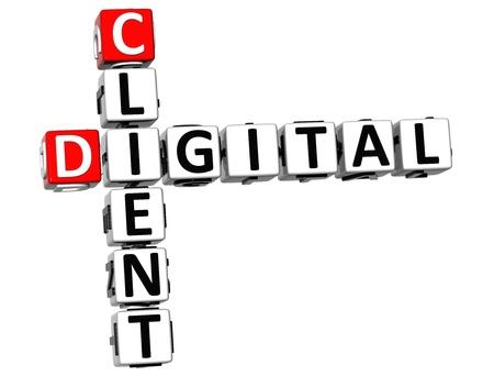 3D Client Digital Crossword on white background photo