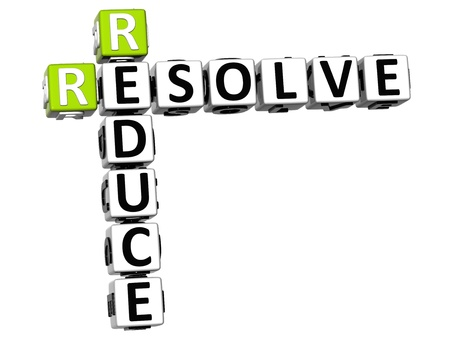 resolve: 3D Reduce Resolve Crossword on white background Stock Photo