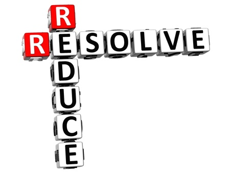 3D Reduce Resolve Crossword on white background Stock Photo