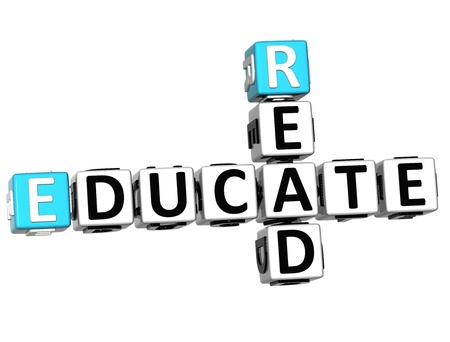 3D Read Educate Crossword on white background photo