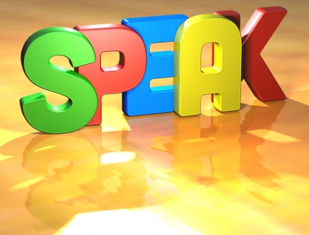 Word Speak on yellow background Stock Photo - 13796130
