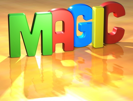 Word Magic on yellow background Stock Photo - 13796132