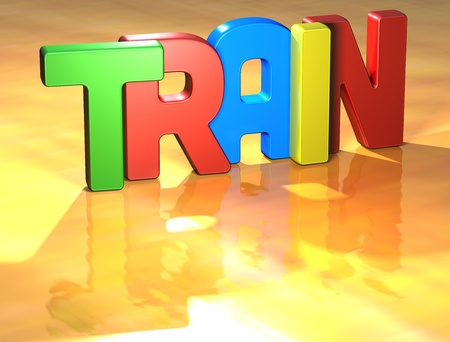 Word Train on yellow background  Stock Photo - 13796126