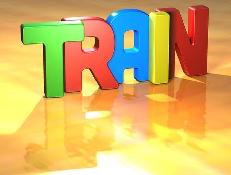 Word Train on yellow background Stock Photo - 13796126