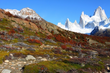 Beautiful nature landscape with Mt. Fitz Roy as seen in Los Glaciares National Park, Patagonia, Argentina  photo