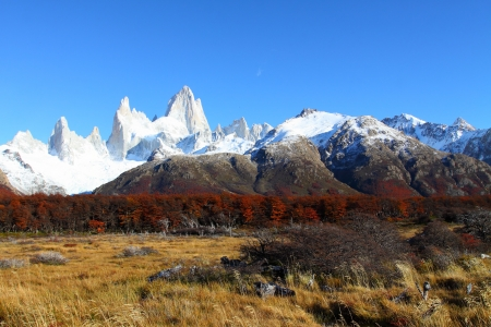 cerro fitzroy: Beautiful nature landscape with Mt. Fitz Roy as seen in Los Glaciares National Park, Patagonia, Argentina