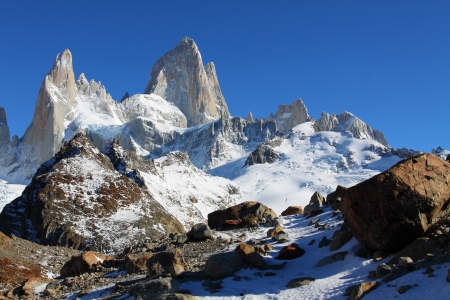 fitz roy: Beautiful nature landscape with Mt. Fitz Roy as seen in Los Glaciares National Park, Patagonia, Argentina