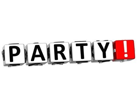 3D Party Crossword on white background Standard-Bild