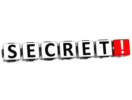 3D Secret Crossword on white background photo