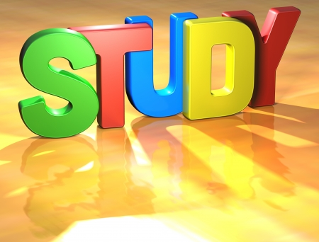 Word Study on yellow background (high resolution 3D image) Stock Photo - 13857460