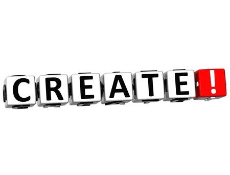 3D Create Crossword on white background Stock Photo