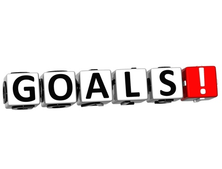 3D Goals Button Click Here Block Text over white background