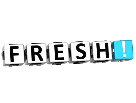 3D Fresh Button Click Here Block Text over white background Stock Photo - 13876284