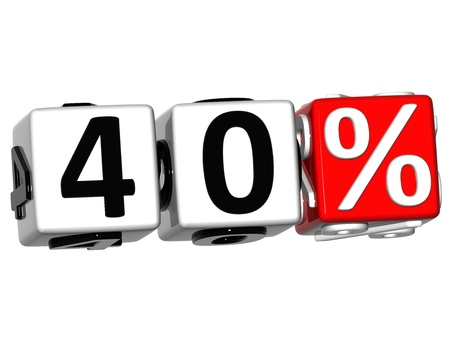 3D 40 Percent Button Click Here Block Text over white background Stock Photo - 13876306