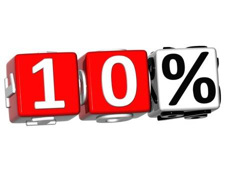 3D 10 Percent Button Click Here Block Text over white background Stock Photo - 13876321