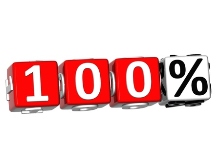 3D 100 Percent Button Click Here Block Text over white background Stock Photo - 13876302