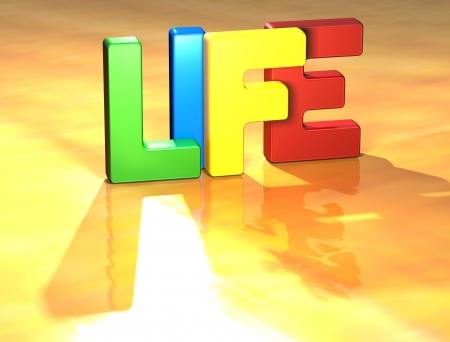 diferent: Word Life on yellow background (high resolution 3D image) Stock Photo