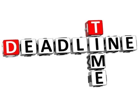 event management: 3D Deadline Time Crossword on white background