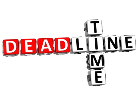 3D Deadline Time Crossword on white background photo