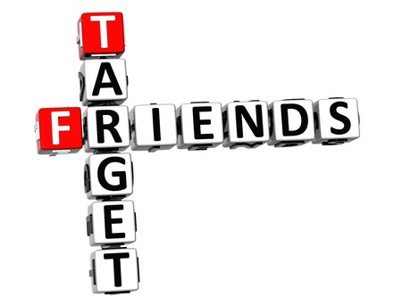 3D Target Friends Crossword on white background photo