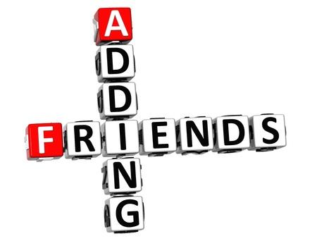 adding: 3D Adding Friends Crossword on white background