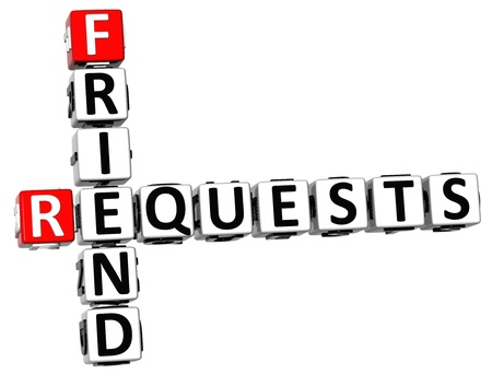 3D Requests Friend Crossword on white background Stock Photo - 13925462