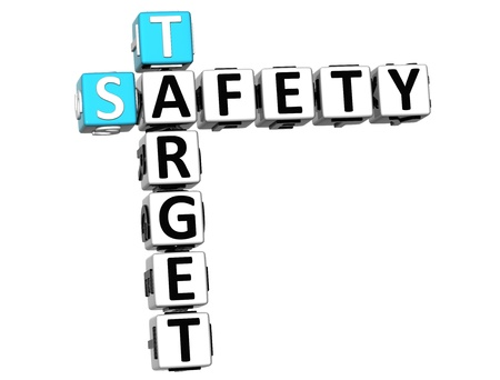 3D Safety Target Crossword on white background photo
